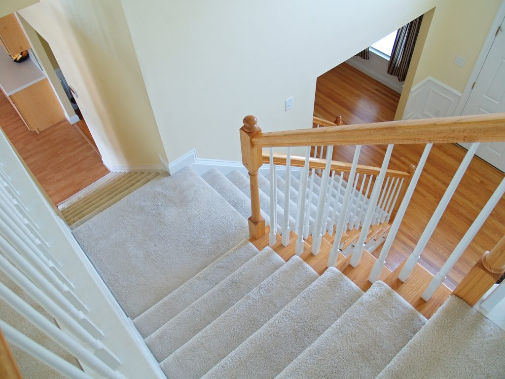 completed carpet installation for stairways